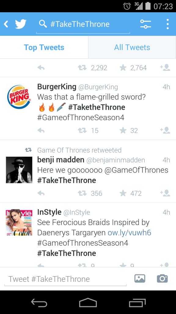 Twitter Screenshot #takethethrone